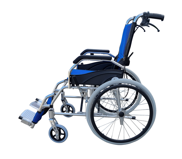Lightweight manual pushchair self propelled manual wheelchair with attendant carer hand brake