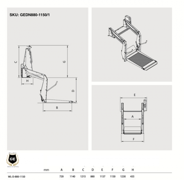 Hydraulic Wheelchair platform Accessible Lift hoist for Cars and Vans Conversion