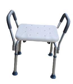 Shower Chair with Stool Back and headrest adjustable for age cares