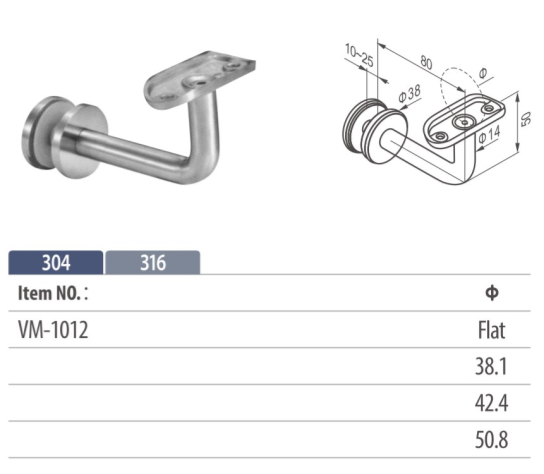 90 Degree Stainless Steel Glass Mounted Bracket with Adjustable Base Height and Top Angle
