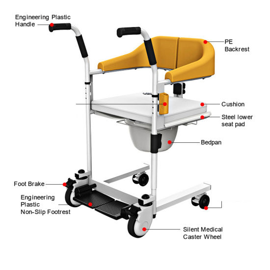 Multifunctional-Foldable-Patient-Transfer-with-Commode-Seat-Wheelchair