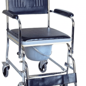 Portable Shower Toilet Transfer Commode 4 wheel Multipurpose Commode Chair shower and toilet aid flip up footplates swing away footrest padded armrest and backrest padded seat for comfort