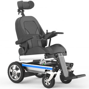 Standing electric power wheelchair with rotation function power wheelchair headrest adjustment