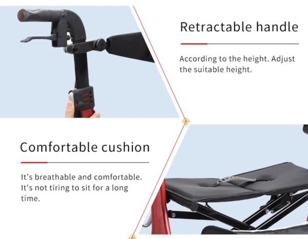 Retractable Handle walking rollator frame
