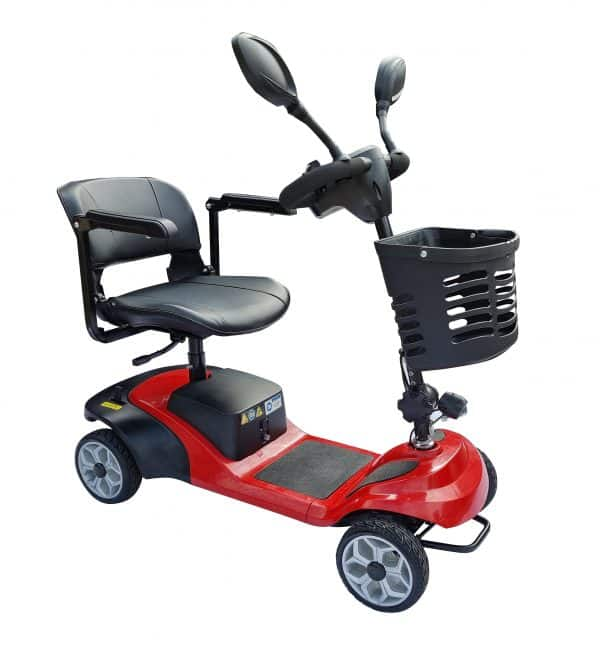 Pathrider Mobility Scooter 4 wheel Mobility scooter, power option with manual push 4 wheel solid tyres scooter with basket mirrors and rotating seat