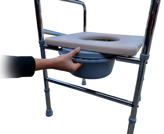 Adjustable Shower Toilet Bedside Commode Chair Toilet Aid Stool with Potty D