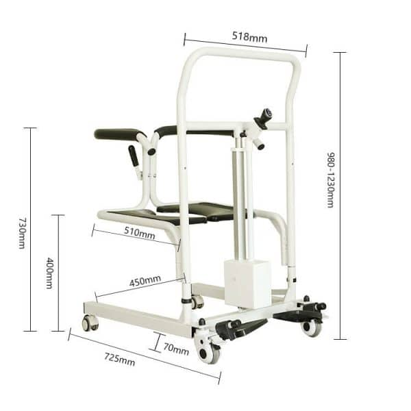 Transfer commode electric 4 wheel patient lift padded back and seat footplates height adjustment