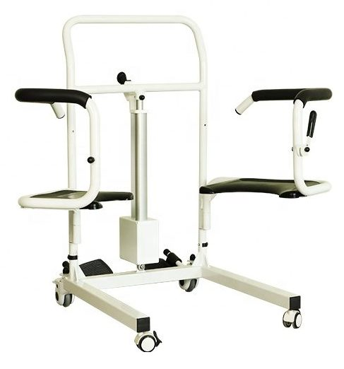 Transfer commode electric 4 wheel patient lift padded back and seat footplates height adjustment with charging